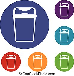 Trash can icons set
