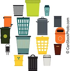 Trash can icons set, flat style - Flat trash can icons set....
