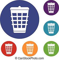 Trash can icons set