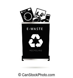 trash can illustration in in black color