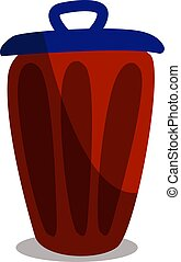 Trash can, illustration, vector on white background.