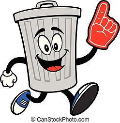 Trash Can Mascot running with a Foam Finger