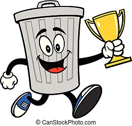 Trash Can Mascot running with a Trophy