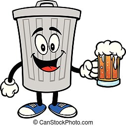 Trash Can Mascot with a Beer
