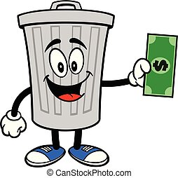 Trash Can Mascot with a Dollar