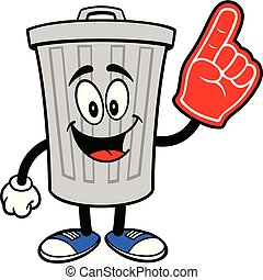 Trash Can Mascot with a Foam Finger