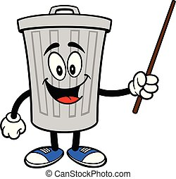 Trash Can Mascot with a Pointer