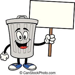 Trash Can Mascot with a Sign