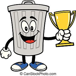 Trash Can Mascot with a Trophy