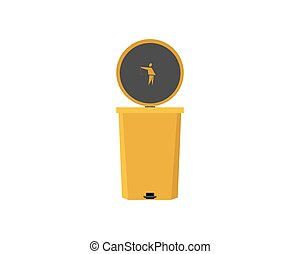 Trash can on a white isolated background. Vector illustration.