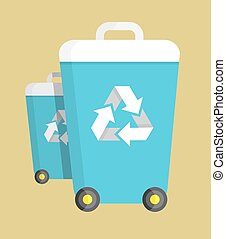 Trash Can on Wheels with Recycling Symbol Vector