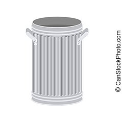 Trash can open isolated. Wheelie bin on white background....