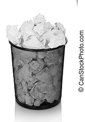 Trash can overflowing with crumpled paper isolated on white.