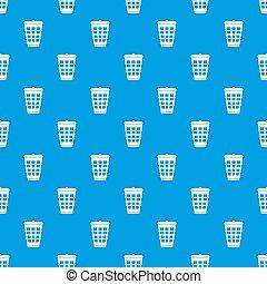 Trash can pattern seamless blue