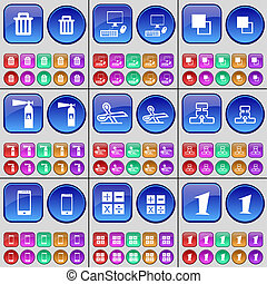 Trash can, PC, Copy, Fire Extinguisher, Scissors, Network, Smartphone, Calculator, One. A large set of multi-colored buttons.