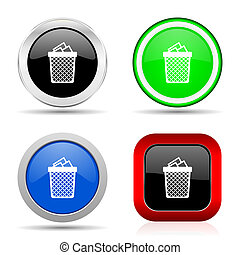 Trash, can red, blue, green and black web glossy icon set in 4 options