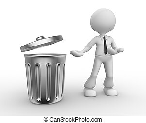 Trash can - 3d people - man, person standing next to a trash...