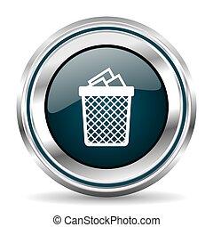 Trash, can vector icon. Chrome border round web button....