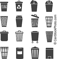 Trash can, waste basket and bin, garbage vector icons