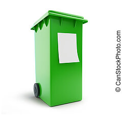 trash can waste sorting four green wheeled bin 3d illustration on a white background