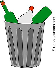 trash can with garbage, illustration, vector on white background.