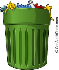 A vector illustration of a big green trash can with trash inside.