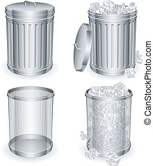 Trash cans. - Set of 4 trash cans with rumpled paper inside.