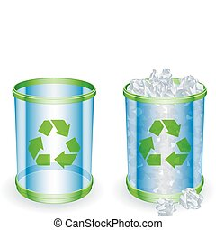Trash cans. - Two transparent trash cans with recycling sign...