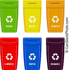 Trash cans. Containers garbage for different types of garbage. Vector set isolated on white background