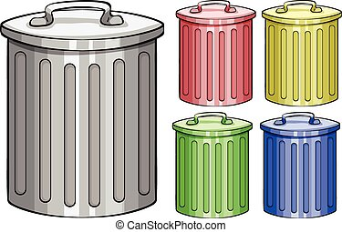 trash cans illustration in diffrent color trash cans set vector rh canstockphoto com garbage can clipart trash can clipart png