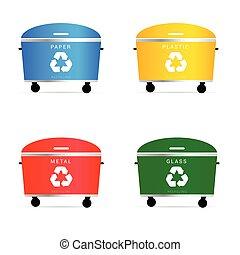 trash cans illustration in diffrent color