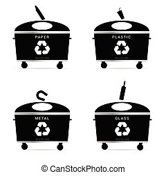 trash cans recycle illustration in black