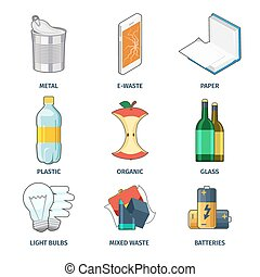 Trash categories icons vector set. Battery and bulb,...