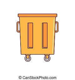 Trash container icon, cartoon style