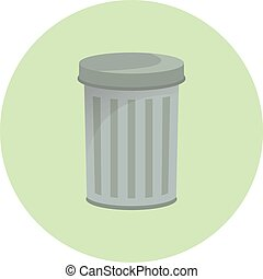 Trash container icon, waste container, recycling bin, dustbin, semi flat vetor illustration