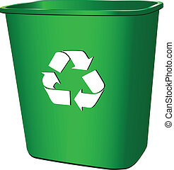 Symbol processing in a trash container. Vector illustration.