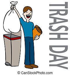 Trash Day Man - An image of a person taking out trash.