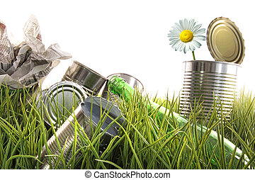 Trash, empty cans and bottles in grass - Trash, empty cans...