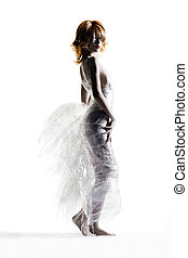 Dress made out of cling wrap and cellophane