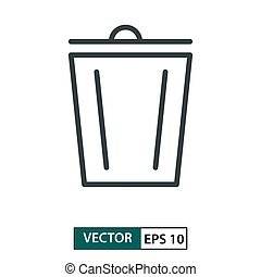 Trash flat icon vector. Line style. Isolated on white. Vector Illustration EPS 10