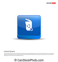 Trash icon - 3d Blue Button