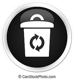 Trash icon black glossy round button