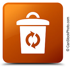 Trash icon brown square button