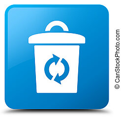 Trash icon cyan blue square button