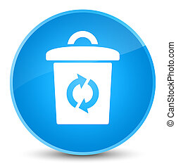 Trash icon elegant cyan blue round button