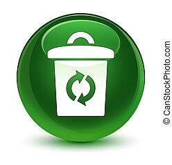 Trash icon glassy soft green round button