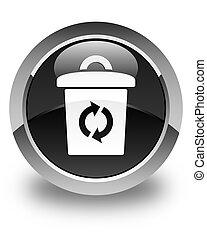Trash icon glossy black round button
