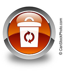 Trash icon glossy brown round button