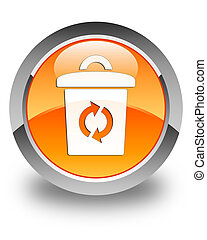 Trash icon glossy orange round button