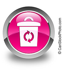 Trash icon glossy pink round button